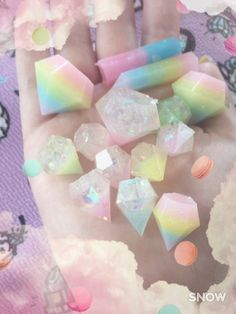 Pastel Wonderland — kittywood: New pastel gems! Handmade from resin. Rainbow Aesthetic, Pink Aesthetic, Aesthetic Outfit, Aesthetic Gif, Crystals And Gemstones, Stones And Crystals, Gem Stones, Crystal Aesthetic, Kawaii Diy