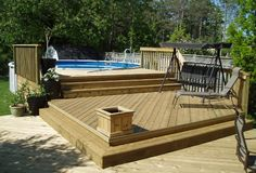 above ground pool decks | 27 ft round pool deck plan, Free Deck Plans, Deck Designs, deck %u2026