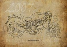 DUCATI MONSTER 695d 2007 Based on my Original by drawspots on Etsy, $42.00