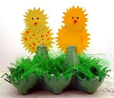 Hahn und Henne aus Eierkarton -  Ostern-basteln - Meine Enkel und ich