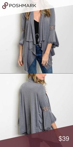 """Bell Sleeve Gray Cardigan 3/4 bell sleeve lace trim detail open front jersey cardigan. Made of Rayon/ spandex blend. Measurements for small Length: 25"""" Bust: 42"""". Boutique Sweaters Cardigans"""
