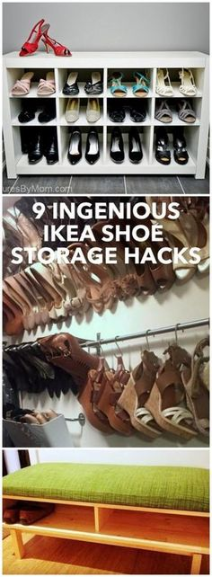 9 IKEA shoe storage hacks to sort and display (or hide) your shoes! http://www.ikeahackers.net/2017/06/9-ingenious-ikea-shoe-storage-hacks.html