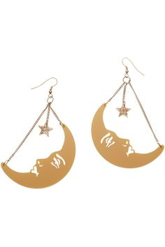 La Luna Moon Earrings - Gold, £60: http://www.tattydevine.com/shop/by-product/collections/aw13/la-luna-moon-brooch-gold.html