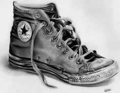 Converse incredible :O Pencil Art, Pencil Drawings, Art Drawings, Graphite Drawings, Shoe Sketches, Drawing Sketches, Sketching, Amazing Drawings, Amazing Art