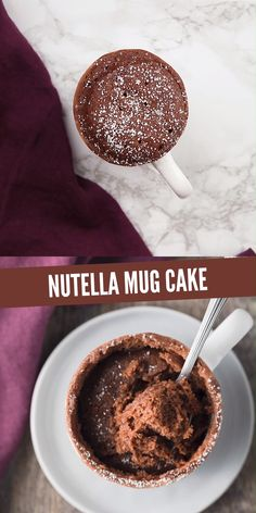 This is the BEST Nutella Mug Cake! It's incredibly easy to make with just a few simple ingredients and cooked right in the microwave. You can top this mug cake with powdered sugar, vanilla ice cream, whipped cream, and/or fresh berries. It's perfect for a Mug Cake Nutella, Chocolate Chip Mug Cake, Keto Mug Cake, Chocolate Mug Cakes, Nutella Bread, Chocolate Chips, Desserts Keto, Quick Easy Desserts, Mini Desserts