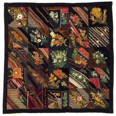 "I ❤ crazy quilting & embroidery . . .  Crazy Quilt- Maker unknown, Place made unknown, Circa 1890, 40"" x 38""   Dodge County Historical Society/May Museum, 662.211.08b"