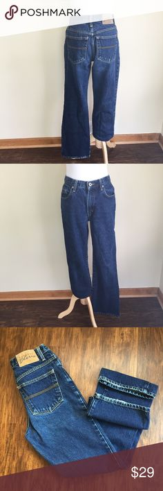 "✨Vintage✨ Express Bleus classic fit jeans sz 5/6 ✨Vintage✨ Express Bleus classic fit jeans, size 5/6.  1990's-era, high rise, 5-pocket, zip and button closure, heavy denim, no stretch.  Condition:  vintage excellent, minor fraying at hems (photo 3).  Material:  100% cotton.  Measurements (approximate, taken laying flat): length 39.5"", inseam 30"", rise 10.5"", flat waistband 14"", flat hip 18"". Vintage Jeans Straight Leg"
