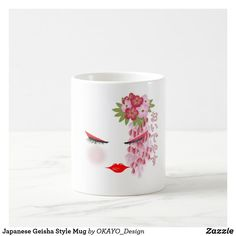Shop Japanese Cherry Blossom Geisha Style Mug created by OKAYO_Design. Easy Paper Crafts, Japanese Geisha, Personalised Blankets, Holiday Photo Cards, Nursery Wall Art, Japan Travel, Cherry Blossom, Watercolor Paintings, Art Pieces