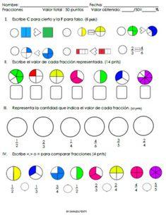 El examen tiene un valor de 50 puntos I. Escribir C para cierto y la F para falso. (6 pnts) II. Escribir el valor de cada fracción representada. (14 pnts) III. Representar la cantidad que indica el valor de cada fracción (12 pnts) IV. Escribir <,> o = para comparar
