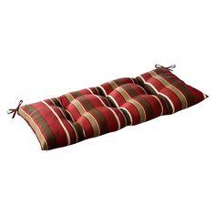 Pillow Perfect Outdoor Monserrat Wrought Iron Loveseat Cushion - Red
