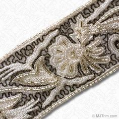 """MJ Trim: 2 3/8"""" EMBROIDERED BEADED BORDER TRIM - Beaded Trims - Trims & Chains"""