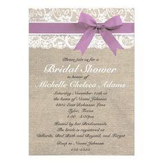 Lavender Lace Burlap Bridal Shower Invitation #wedding #invitations