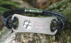 Silver and leather bracelet with Baxter's own paw print and a very personal engraving.