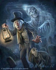 *THE CARETAKER & his dog ~ The Haunted Mansion. Signed by the artist. Halloween Kunst, Halloween Artwork, Halloween Drawings, Halloween Prints, Halloween Pictures, Halloween Horror, Disney Halloween, Vintage Halloween, Halloween Facts