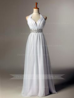 One-piece, slim line chiffon dress with halter neckline. A grecian goddess dress of contemporary style with empire waist band. #crossoverbackdebdress #backlessdebdress #debutantegown #debdressesonline  #debdresses  #debdressshop  #debutante #debutantes2016  #debutanteball #debdressesmelbourne #chicdebdress