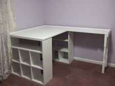 This is what I need. The thicker side can be a desk for a lap top and books and craft stuff and the thin sliver next to it can be a vanity area!!