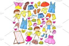 Children clothing Kindergarten boys and girls with clothes New clothing collection Dresses, trousers, shoes, hats, caps, gloves, scarf. Princess dresses #backdrop