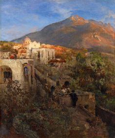 Evening on Ischia with View on the Mount Epomeo, Oswald Achenbach. Germany (1827 - 1905)