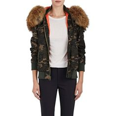 Mr & Mrs Italy Women's Fur-Trimmed Camouflage Bomber Jacket ($2,270) ❤ liked on Polyvore featuring outerwear, jackets, flight jackets, hooded jacket, style bomber jacket, slim fit jackets and camouflage jackets