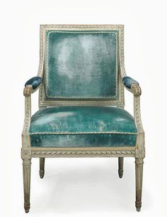 From Hail's personal collection. Louis XVI Grey-Painted Fauteuil by Philippe Joseph Pluvinet c.1780