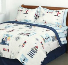 Lighthouse, Sailboat, Nautical Queen Comforter Set (8 Piece Bed In A Bag) by Kreative Kids. $81.98. The set includes: 1- Queen Comforter, 1- Flat Sheet, 1- Fitted Sheet, 2- Pillowcases & 2- Pillow Shams.. Let this Lighthouse Bed in a Bag guide you to a serene maritime setting. This soft and cozy bedding ensemble features an engaging mix of watercolor scenes of boats and lighthouses interspersed with nautical flags and stars. The comforter has a navy blue reverse and comes wit...
