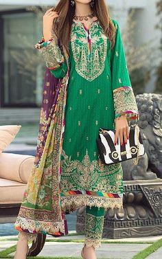 Emerald Green Lawn Suit   Buy Rang Rasiya Pakistani Dresses and Clothing online in USA, UK Fashion Pants, Fashion Dresses, Rang Rasiya, Beautiful Pakistani Dresses, Pakistani Lawn Suits, Add Sleeves, Lawn Fabric, Green Lawn, Shalwar Kameez