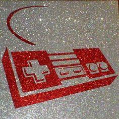 Original Nintendo (NES) Controller Retro Geek Glitter Art Decor By GlitterMorris