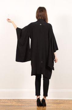 vintage black kimono haori jacket // sheer floral burnt cut out // hippie boho // huge draped sleeves // tie // small medium large. $39.10, via Etsy.