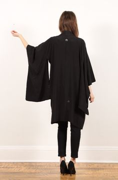 vintage black kimono haori jacket // sheer floral burnt cut out // hippie boho // huge draped sleeves // tie // small medium large. $39.10, via Etsy.