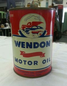 Very Rare Wendon Motor Oil Can with Great Graphics, Greensburg PA