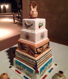 My Hopi Wedding Cake  By Vali's Custom Cakes in Chandler,AZ 10-25-14    Wedding cake, hopi, pueblo, tewa, Native American, indigenous, south western  Rustic traditional