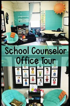 School Counseling Office Tour: Round One - The Responsive Counselor School Counselor Organization, School Counselor Office, Counseling Office Decor, School Guidance Counselor, High School Counseling, Group Counseling, Elementary Counseling, Teacher Office, Nurse Office
