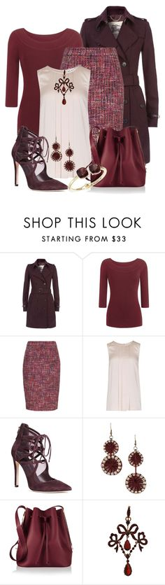 """Fall Reds"" by jennifernoriega ❤ liked on Polyvore featuring Burberry, ESCADA, Reiss, GUESS, Suoli, Sophie Hulme and Cara"