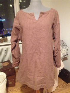 Brown, linen shirt, made for myself, machine and handsewn.