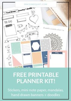 This printable kit contains pretty planner stickers, cute coordinating note-paper, two gorgeous mandalas to colour AND a sheet of hand-drawn banners and doodles! This kit is on trend and perfect no matter what type of planner or bullet journal you are using. I'm sharing tips and ideas for printing these goodies and decorating your planner, journal or notebook. #plannerprintables #plannerstickers #printablestickers #bulletjournal #bulletjournaling #banners #doodles #handdrawnbanners Bullet Journal Printables, Bullet Journal Themes, Bullet Journal Layout, Bullet Journals, Free Planner, Happy Planner, Planner Diy, Planner Journal, Planner Ideas
