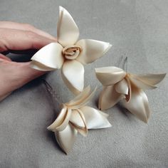 Flower hair pin. Handmade Satin Flower Accessories for the Bride and Bridesmaids by The Elephant's Journey.