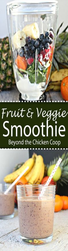 Smoothie made with fruit and vegetables.