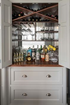 In any bespoke kitchen, whether shaker or contemporary, we think a bespoke drinks cabinet is perfectly fitting. Whatever your tipple, we have a solution! Built In Bar Cabinet, Home Bar Cabinet, Drinks Cabinet, Bar Cabinets For Home, Liquor Cabinet, Home Bar Rooms, Diy Home Bar, Bars For Home, Home Bar Areas