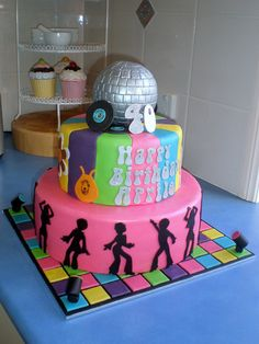 Groovy 40th birthday disco/70's party cake. Great!