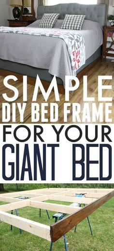 DIY bed frame by adding simple legs and upholstery to box spring ...