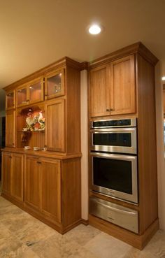StarMark hickory with toffee stain, KitchenAid oven/ microwave combo and warming drawer with Kendal Slate floor Kitchen Cabinets In Bathroom, Kitchen Reno, Kitchen Ideas, Kitchen Appliances, Wall Oven Microwave Combo, Hickory Kitchen, Slate Flooring, Kitchenaid, Cabinet Design
