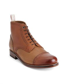 """#Rag men boots I can not afford these boots but WOW Upper: Full grain leather 1 1/8"""" heel height, 4 3/4"""" shaft Perforated brogue detail Lace closure Custom-made pull tab Style # M2228339V"""