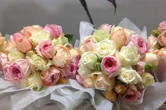 Bouquets for the Bride and her Maids - Sweet smelling, pastel David Austin Roses