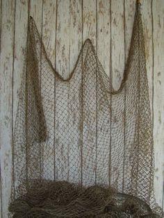 Authentic Used Nylon Fishing Net ~ 5'x10' ~ Vintage Fish Netting Decor