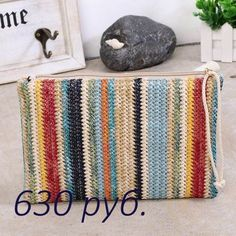 Description Item Type: HandbagsStyle: BohemianShape: Casual ClutchHandbags Type: Day ClutchesGender: WomenLining Material: PolyesterClosure Type: HaspNumber of Straw Handbags, Handbags On Sale, Crochet Handbags, Summer Bags, Knitted Bags, Color Stripes, Small Bags, Clutch Bag, Straw Bag