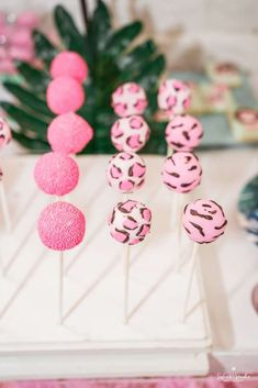 Loving the pink animal print cake pops at this Girly Tropical Safari Birthday Party!! See more party ideas and share yours at CatchMyParty.com #catchmyparty #cakepops #safari #animals #pink