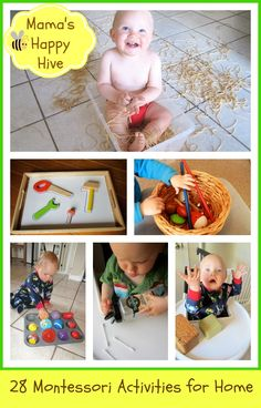 This is week four of 28 Montessori Inspired Activities for Toddlers. These activities are easy to put together with items found around the home. -  www.mamashappyhive.com