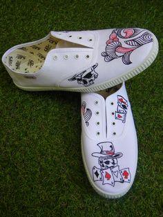 Zapatillas pintadas a mano Diseño Poker