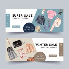 Fashion banner design with outfit, camer. Web Design, Web Banner Design, Banner Design Inspiration, Banner Drawing, Promotional Banners, Fashion Banner, Sale Banner, Graphic Design Posters, Banner Template