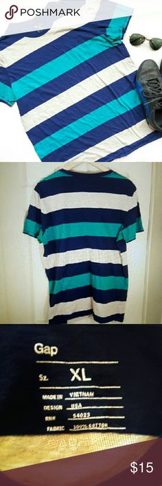 {Mens} Gap striped t shirt In perfect condition. Great shirt to wear all the time. Super comfortable. Colors are teal, gray, and blue. 100% cotton. From a smoke and pet free home. Fast shipping! GAP Shirts Tees - Short Sleeve